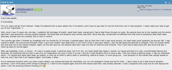 Bài post đầu tiên của tôi trên nomorepanic vào tháng 1 năm 2013.