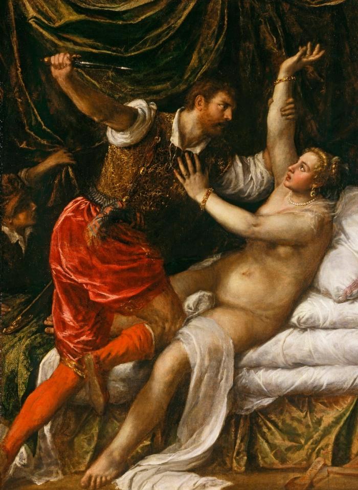 Bức tranh mô tả Lucretia - một người phụ nữ thuộc dòng dõi quý tộc đã bị hiếp dâm bởi con trai của Hoàng đế La Mã Etruscan. Sau đó, Lucretia đã tự tử. Đây cũng là điểm khởi đầu cho sự lật đổ Vương Quốc La Mã và sau này là sự ra đời của nước Cộng Hòa La Mã. Tranh: Titian's Tarquin and Lucretia (1571)